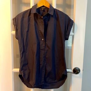 Jcrew Navy Capped Sleeved Blouse